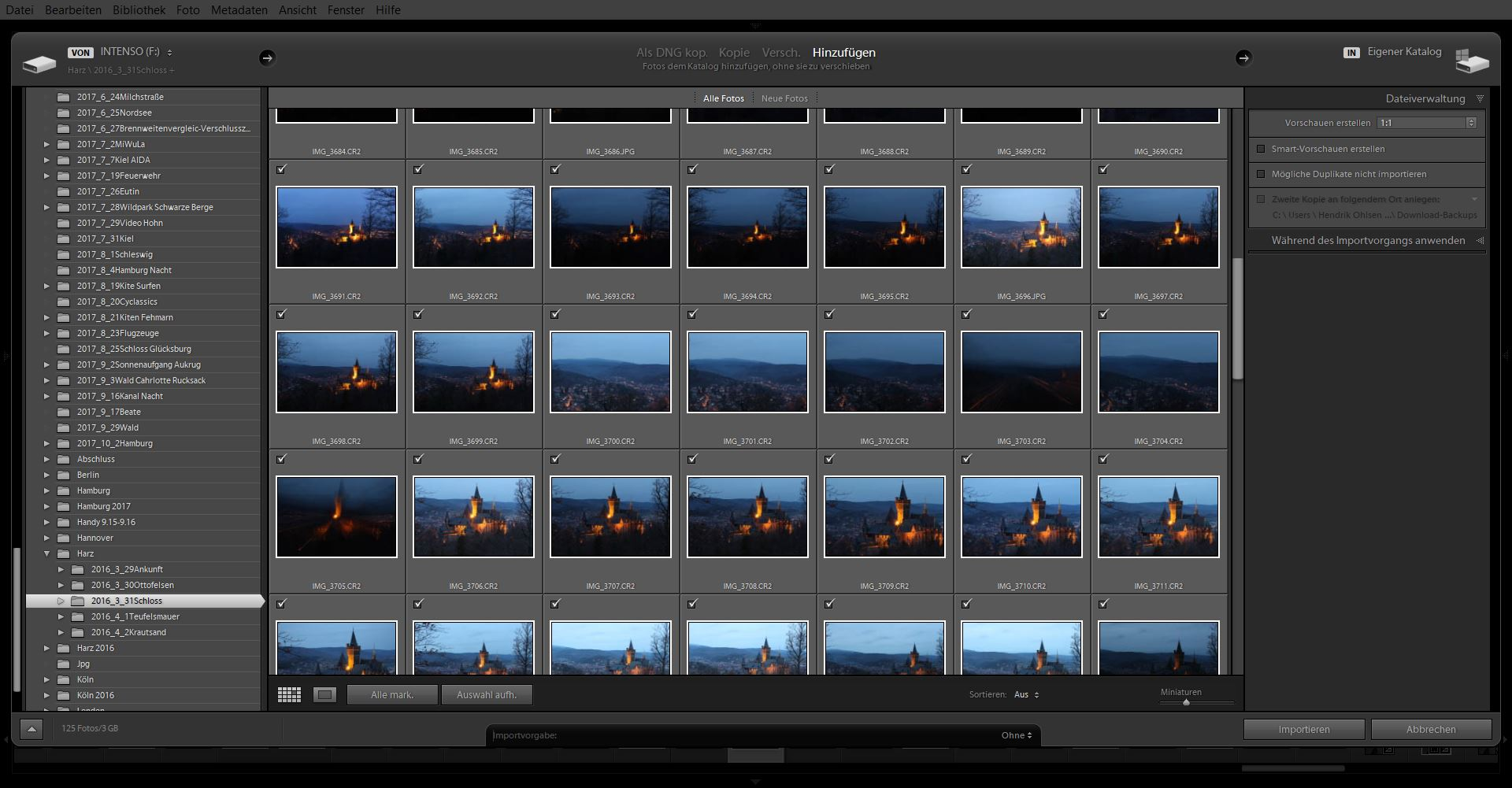 Das Importfenster von Adobe Lightroom