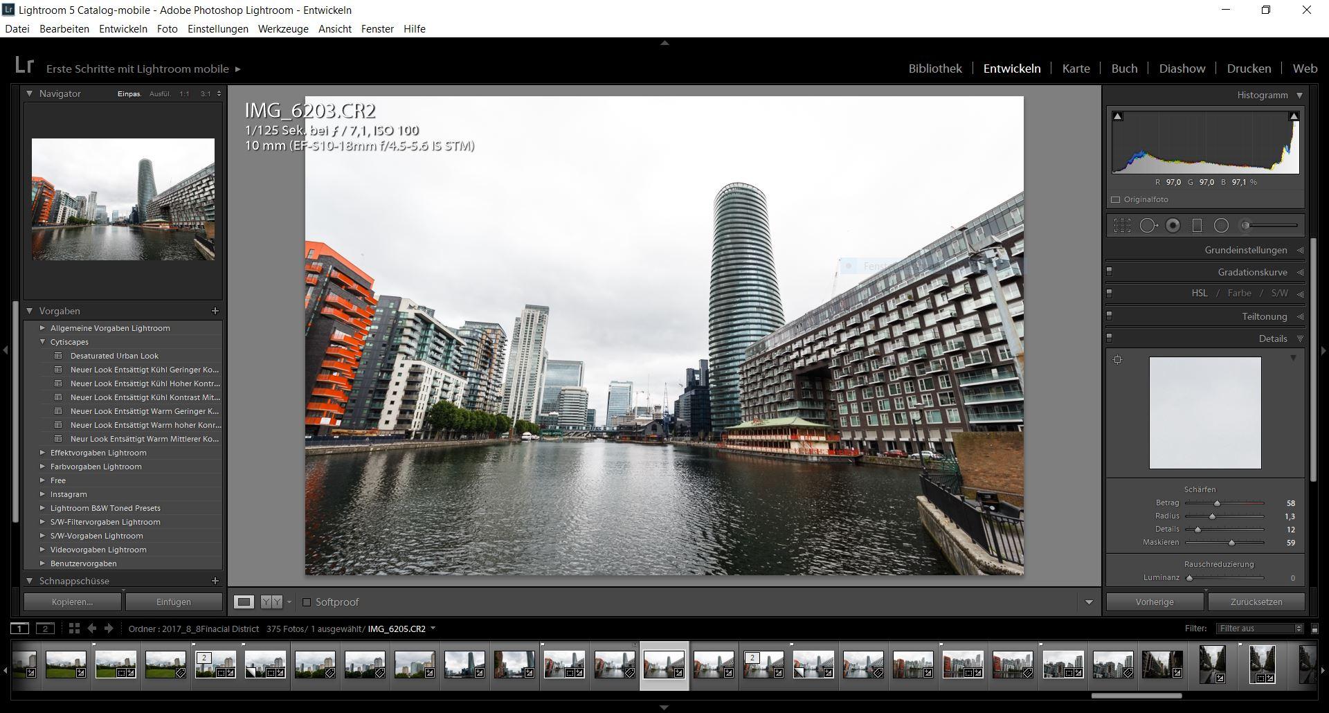 Der Bereich zum Entwickeln der Fotos in Lightroom