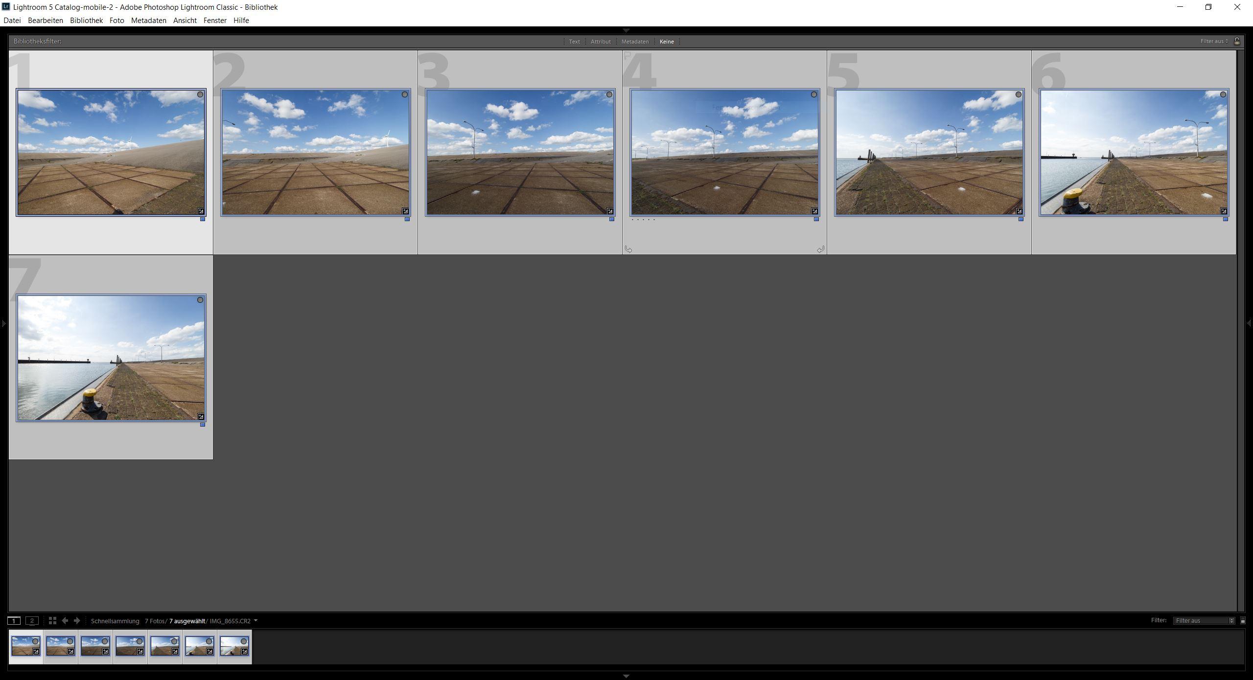Die Auswahl der Ausgangsbilder für das Panorama