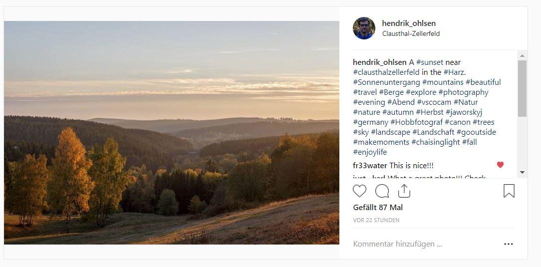 Screenshot eines Beitrages auf Instagram