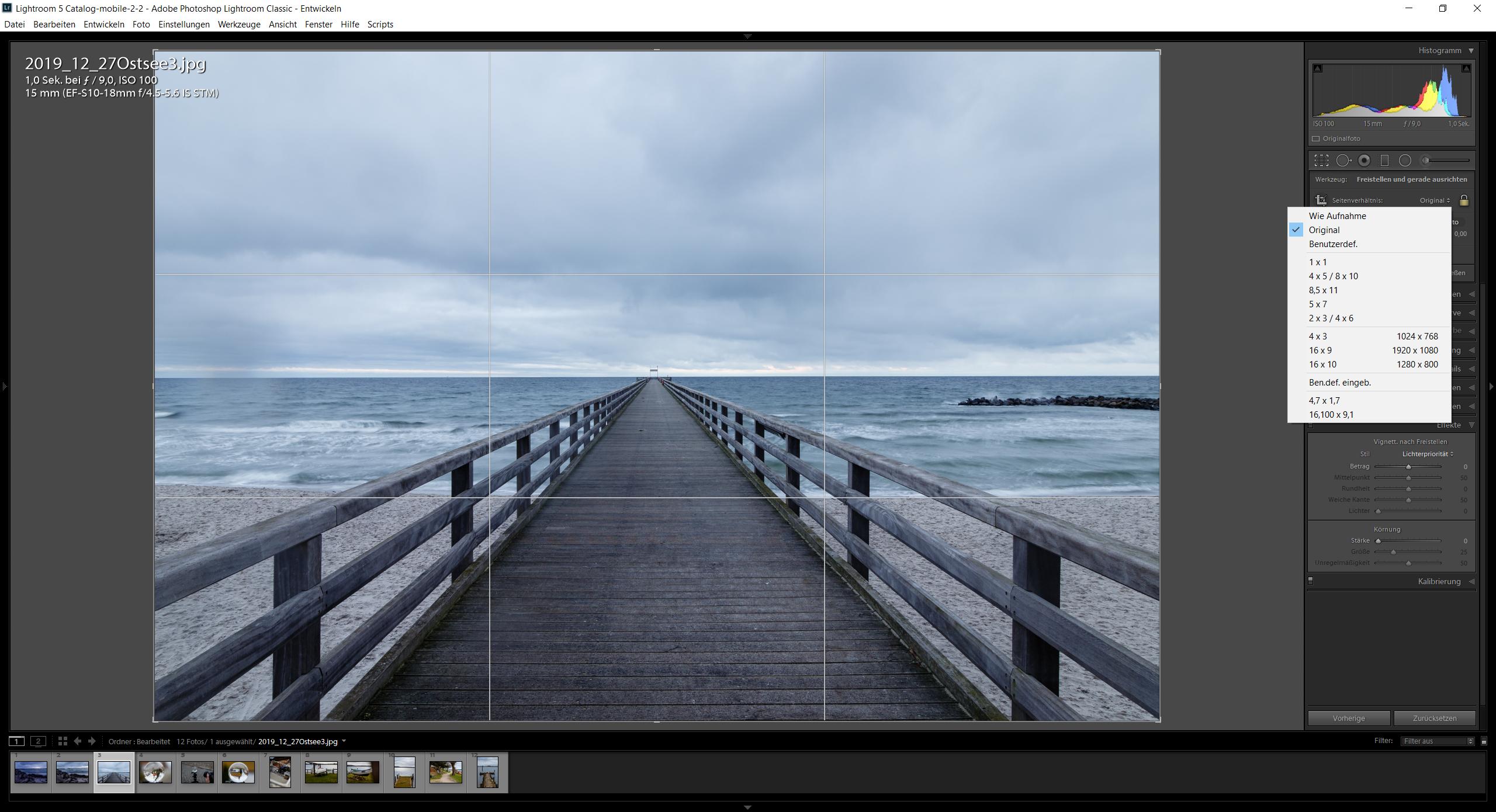 Lightroom erlaubt ein einfaches Anpassen des Seitenverhältnis