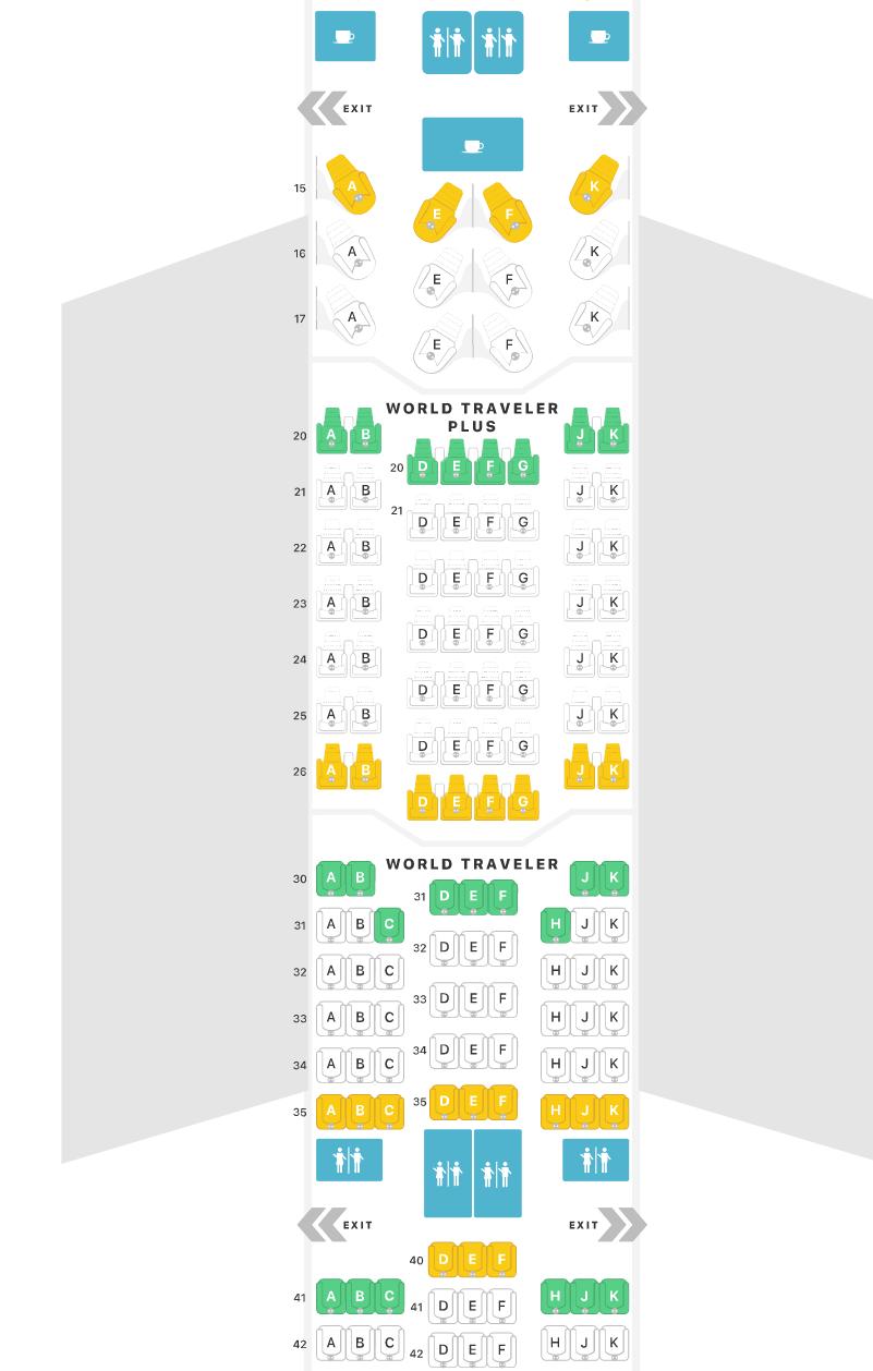 Screenshot einer Seatmap des mittleren Bereiches im A35k der British Ariways